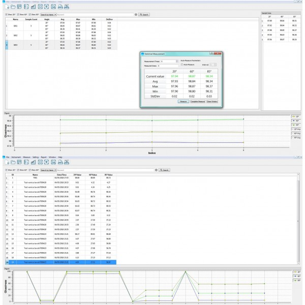 Report misurazione brillantezza - scaricamento dati glossmetro